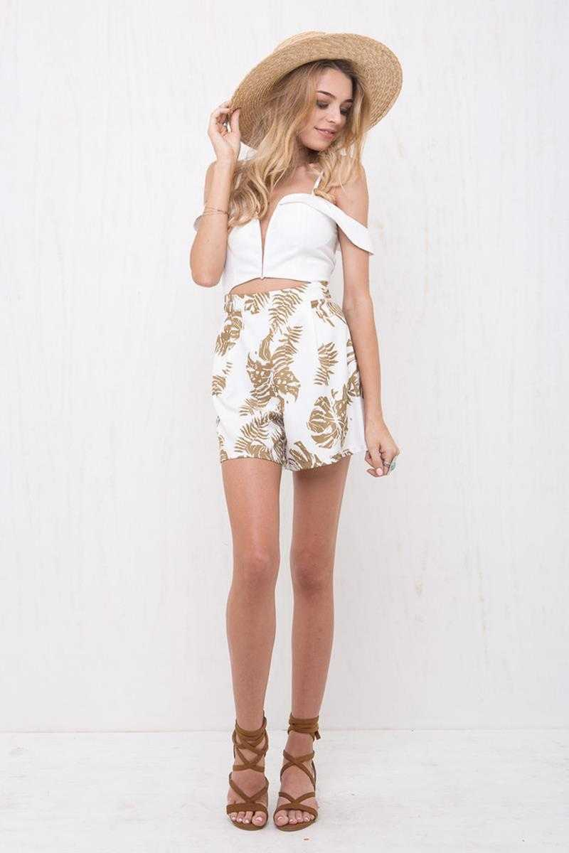 Morrisday California Playsuit White/Palm Tree Print