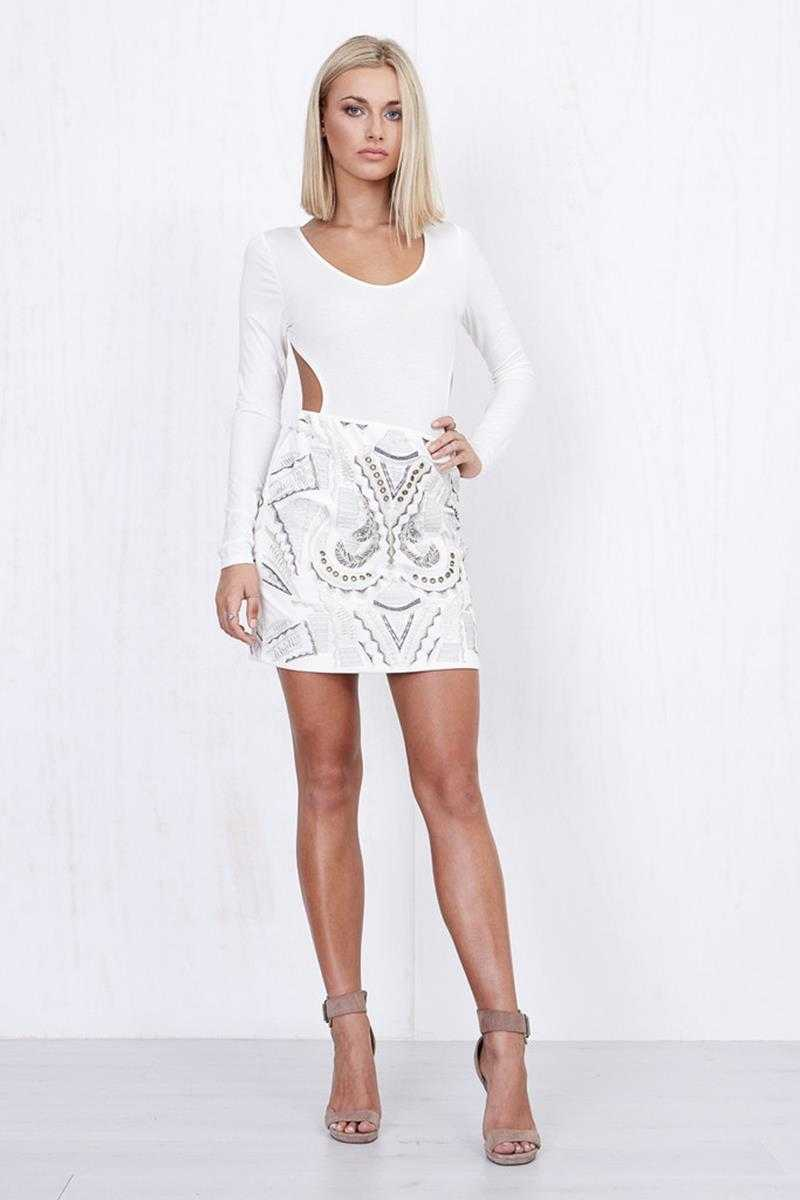 Morrisday Nina Embodied Skirt White