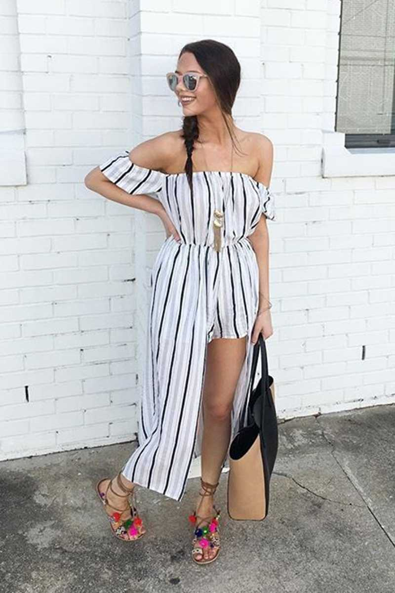 Morrisday Voyage Striped Maxi Skort Dress Navy