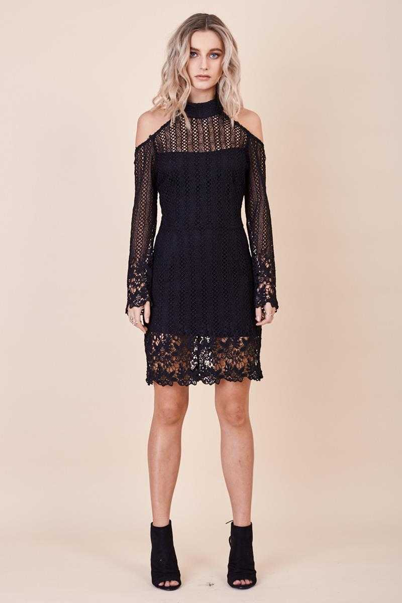 Morrisday Spellbound Open Shoulder Lace Dress Black