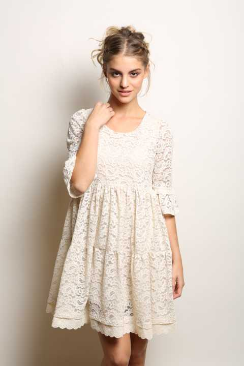 Aitana 1/2 Sleeve Lace Swing Dress - Talis Collection