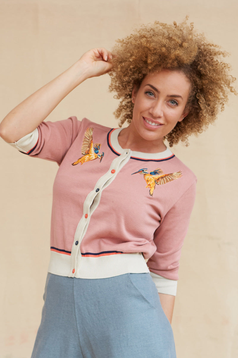 Palava Organic Cotton Classic Cardigan Dusty Pink Kingfisher