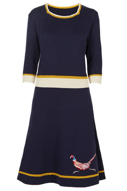 Palava Otti Knitted Dress Navy Embroidered Pheasant