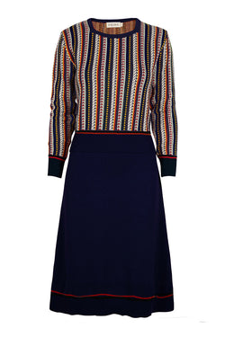 Palava Otti Knitted Organic Cotton Dress Navy Feather Stripe