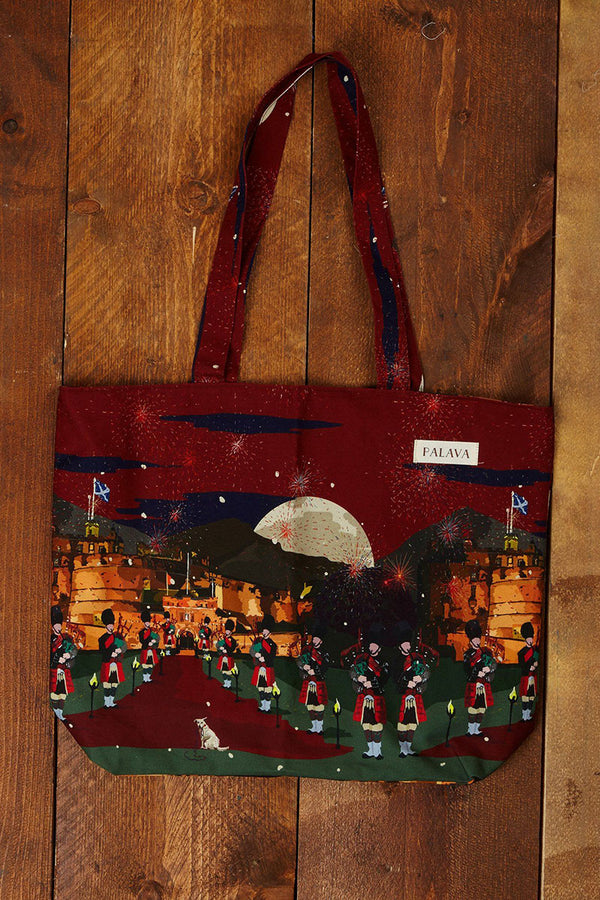 Palava Large Organic Cotton Shopper Bag Red Edinburgh Castle