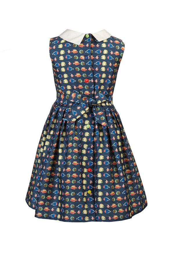 Palava Children's Penny Dress Navy Fish
