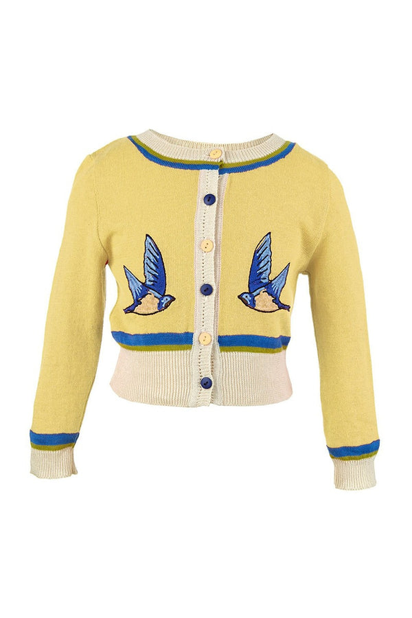 Palava Children's Cardigan Lemon Swallows