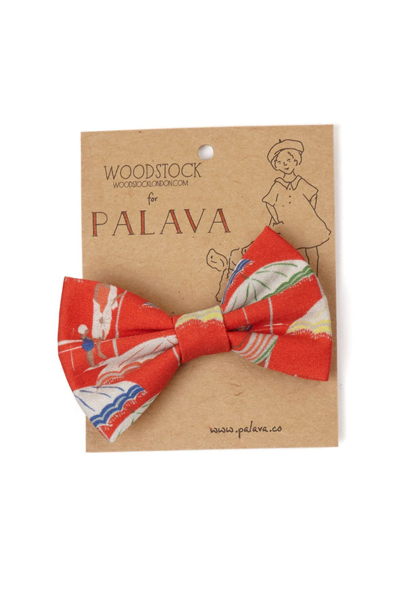 Palava Children's Bow Clip Red Umbrellas