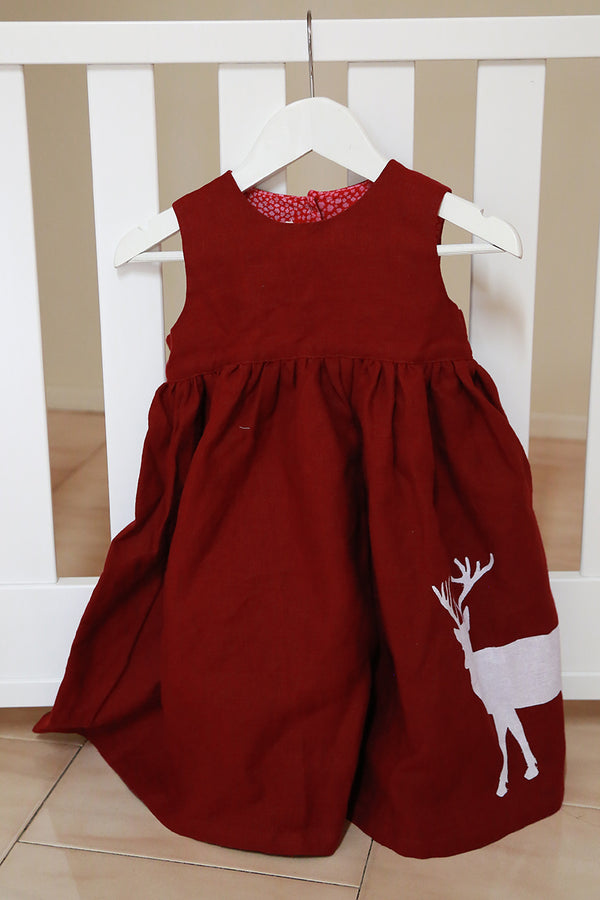 Palava Children's Rosie Dress Burgundy Reindeer