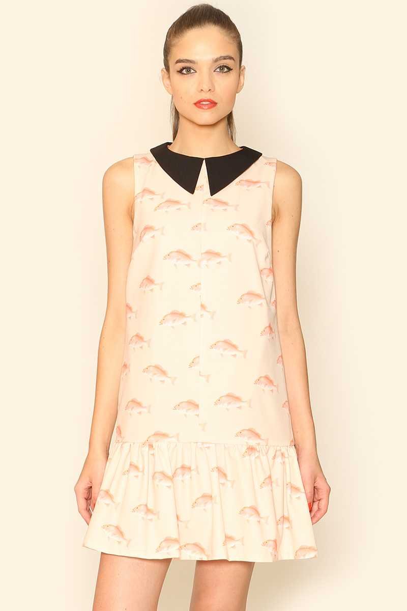 Pepaloves Peplum Hem Fish Print Shift Dress