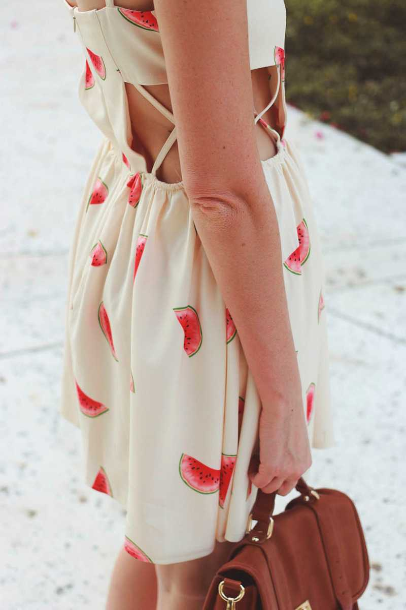 Pepaloves Cream Watermelon Skater Dress