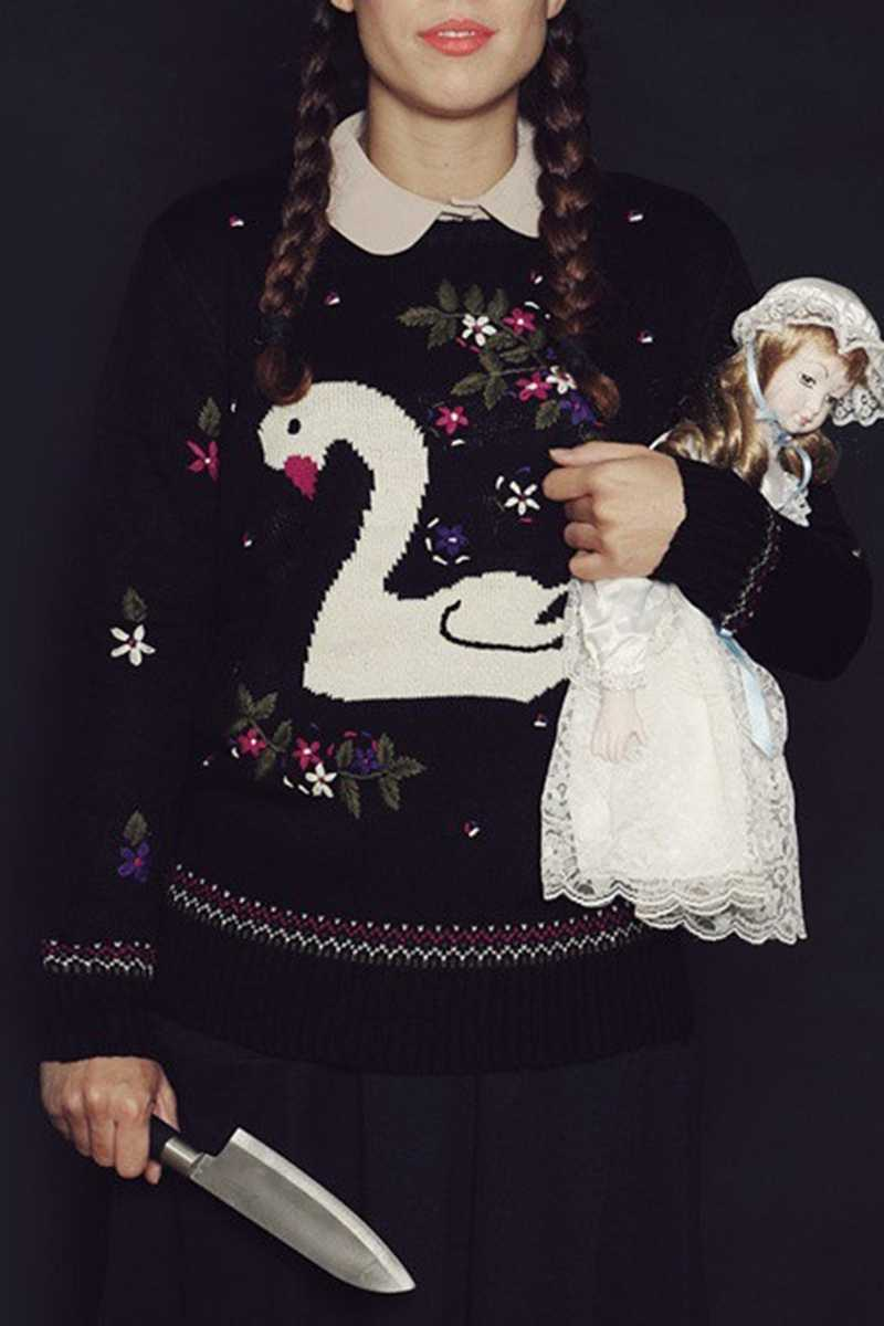 Pepaloves Swan Print Sweater Black