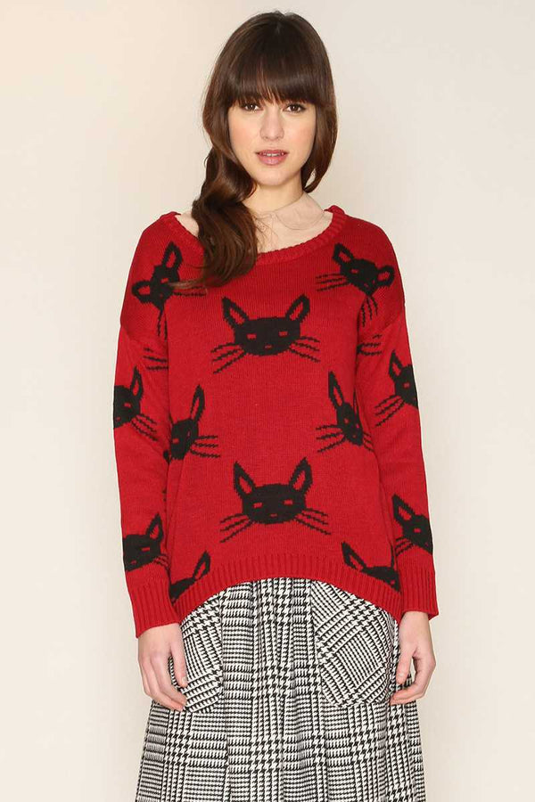 Pepaloves Felina Cat Print Sweater Red