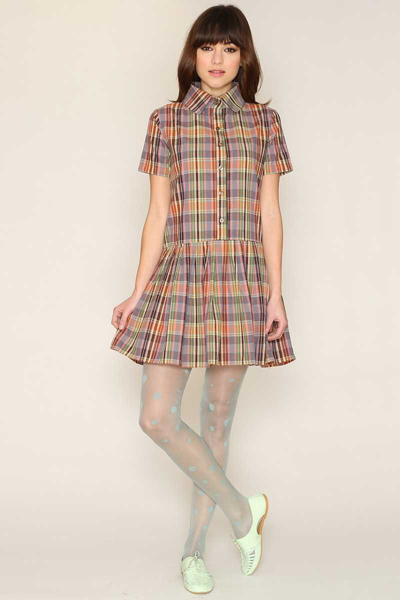 Pepaloves Felicity Plaid Shirt Dress