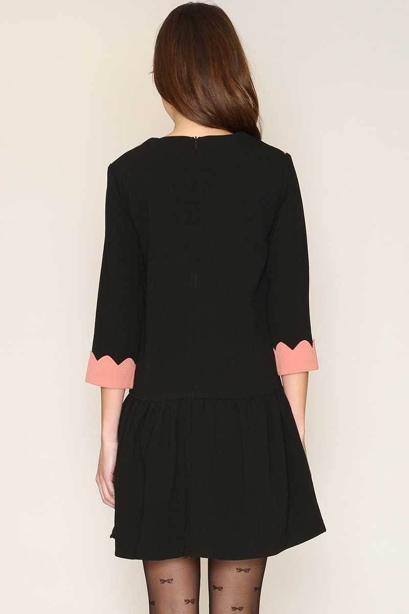 Pepaloves Irene Contrast Detail Dress Black