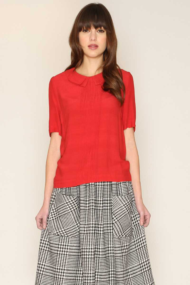 Pepaloves Kara Short Sleeve Blouse Red