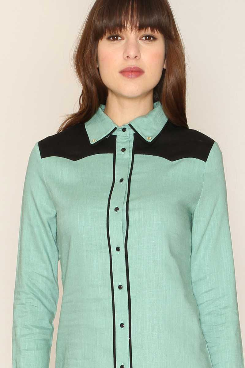 Pepaloves Kenzie Contrast Trim Blouse
