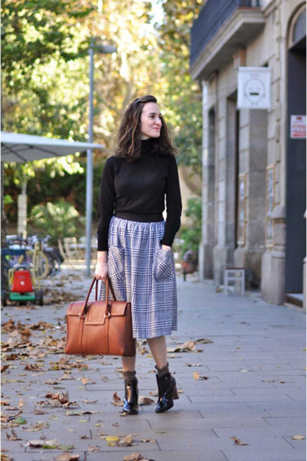 Pepaloves Nadia Houndstooth Flare Skirt