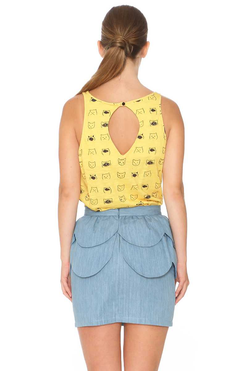 Pepaloves Peplum Denim Pencil Skirt