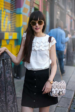 Pepaloves Embroidery Ruffle Neck Top White
