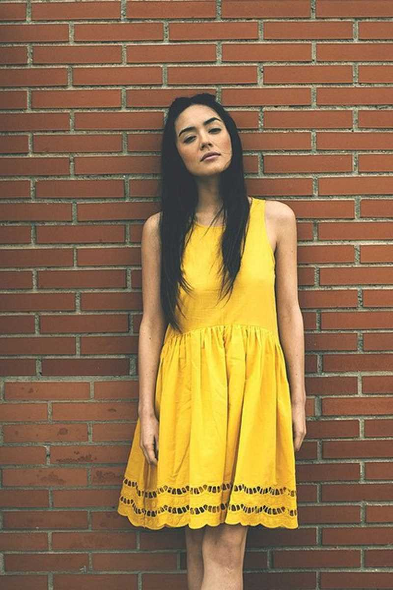 Pepaloves Scalloped Hem Flared Dress Yellow