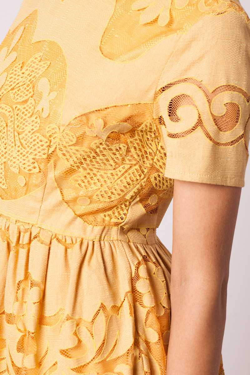 Pepaloves Burnout Lace Flare Dress Mustard