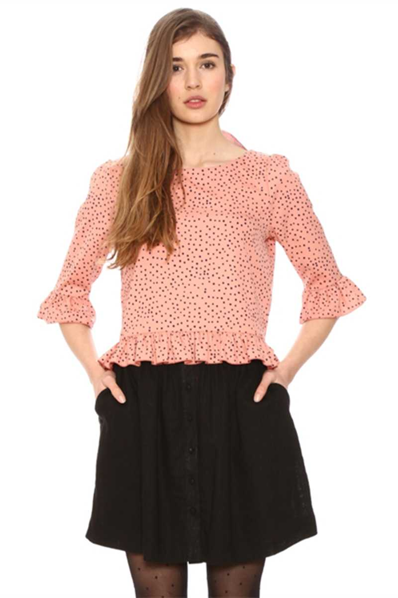 Pepaloves Helena Dots Salmon Pink Blouse
