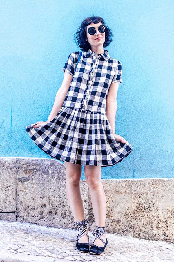 Pepaloves Iris Check Skater Dress