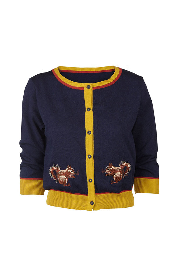 Palava Women's Classic Cardigan Navy Squirrel (Pre-Order)
