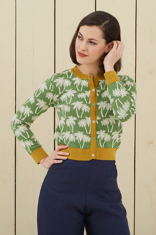 Palava Organic Cotton Cardigan Green Palm Trees (Pre-Order)