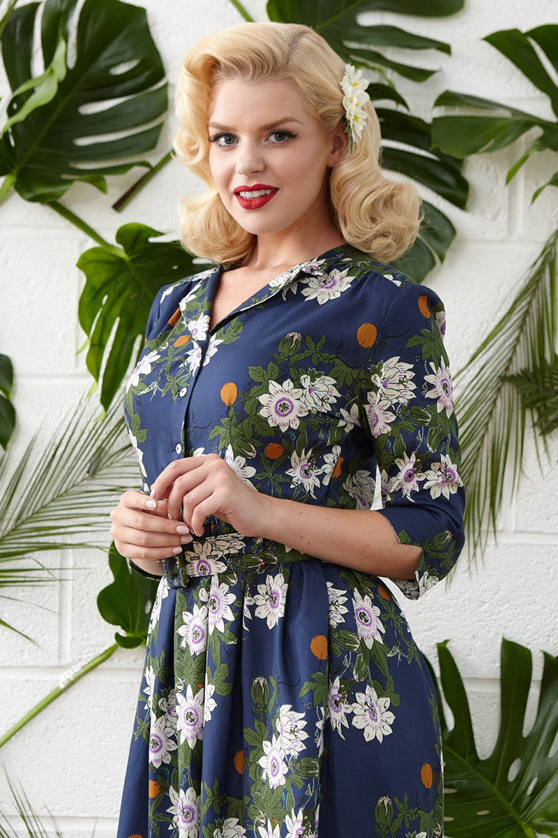 Palava Cynthia Dress Passion Flower Navy