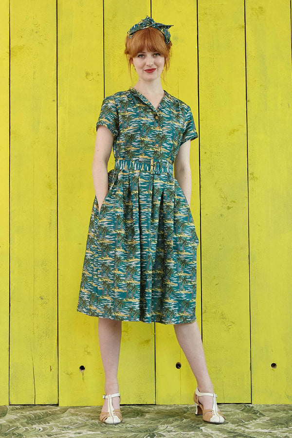 Palava Louise Dress Emerald Palm Tree (Pre-Order)