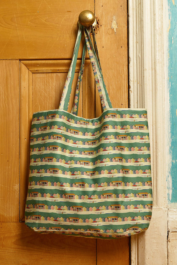 Palava Large Shopper Green Beach Huts