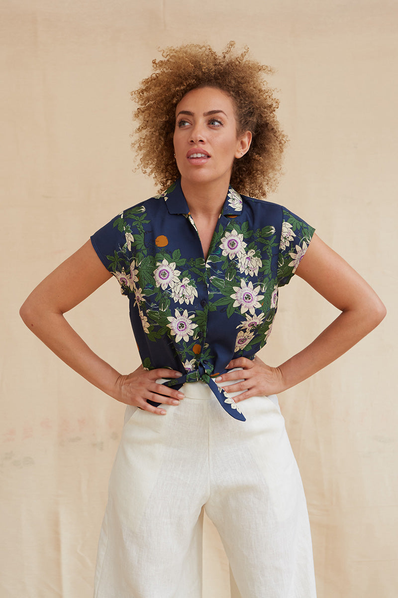 Palava Peggy Tencel Navy Passion Flower Top