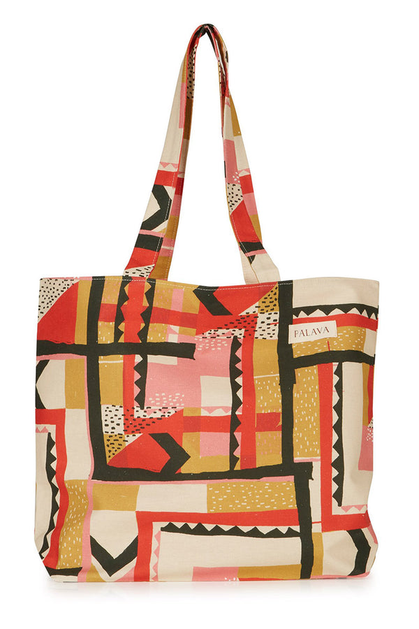Palava Large Cotton Linen Shopper Bag Multi Highwire