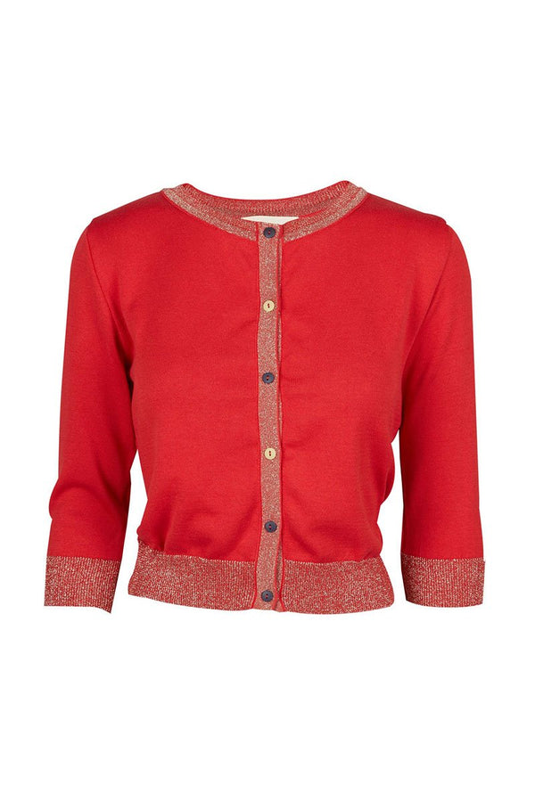 Talis Palava Organic Cotton Cardi Sparkly Red 2