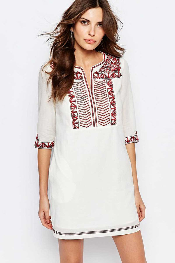 See U Soon Tunic Dress with Embroidered Placket