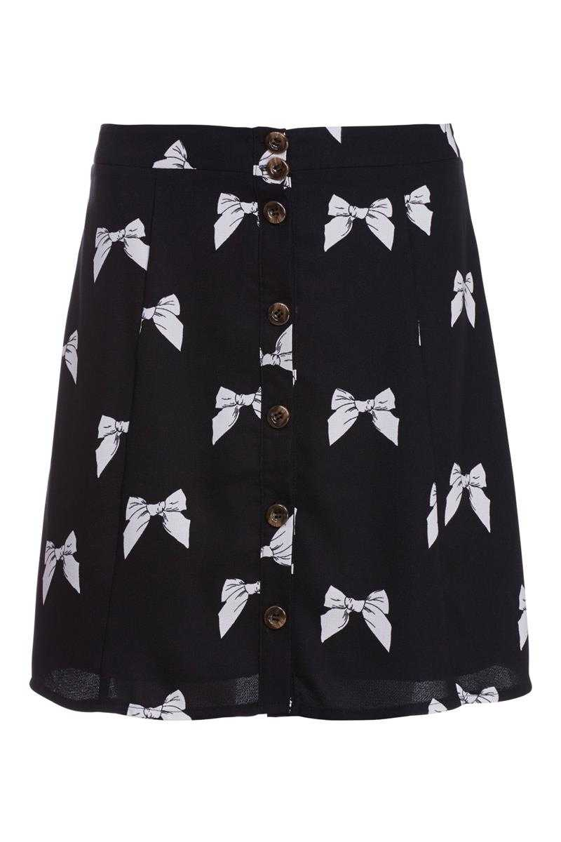 Poppy Lux Elaine Bow Print Skirt