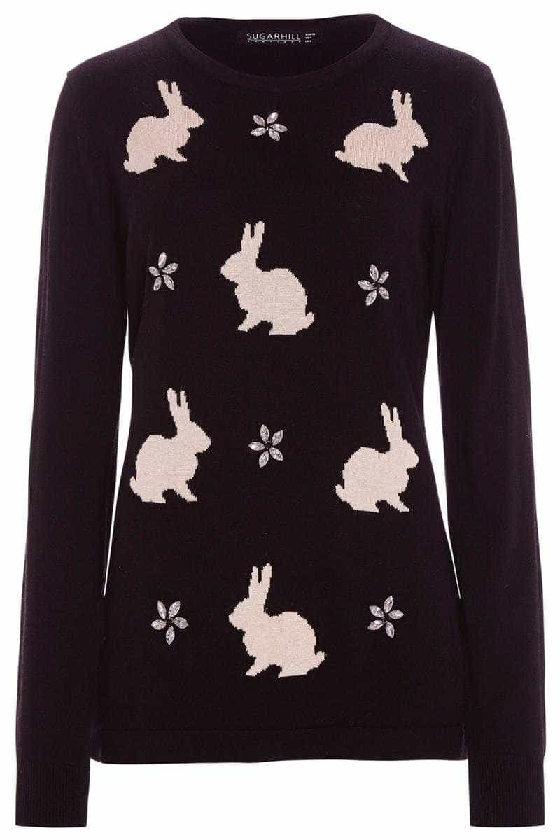 Sugarhill Boutique Sparkle Bunny Sweater Black