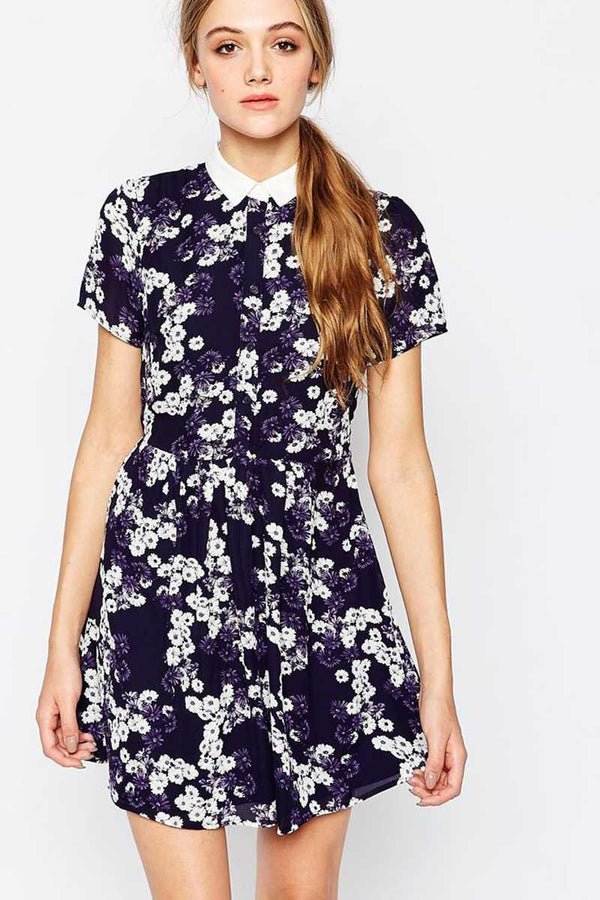 Sugarhill Boutique Daisy Smock Dress With White Collar