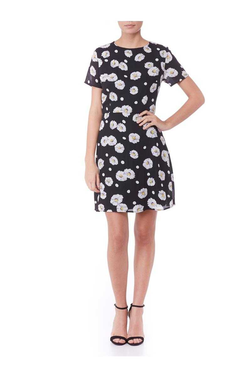 Poppy Lux Thora Daisy Print A-line Shift Dress
