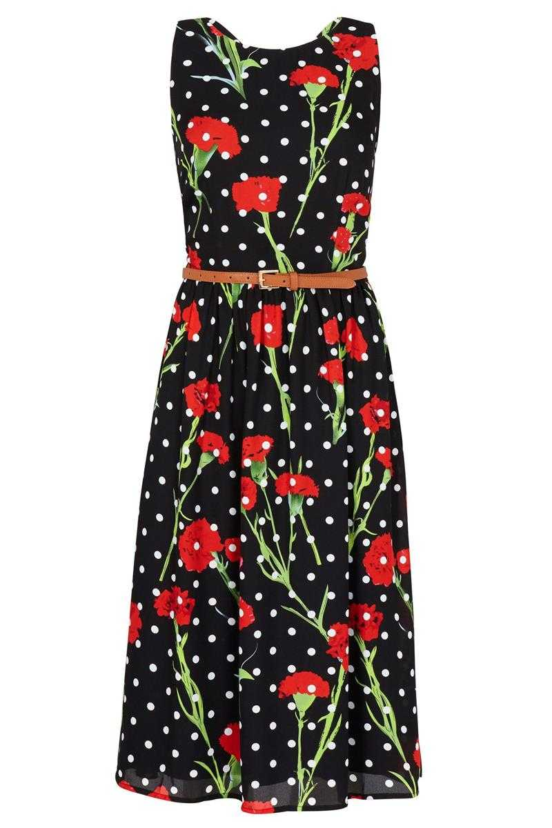 Poppy Lux Geneva Floral Spot Midi Dress
