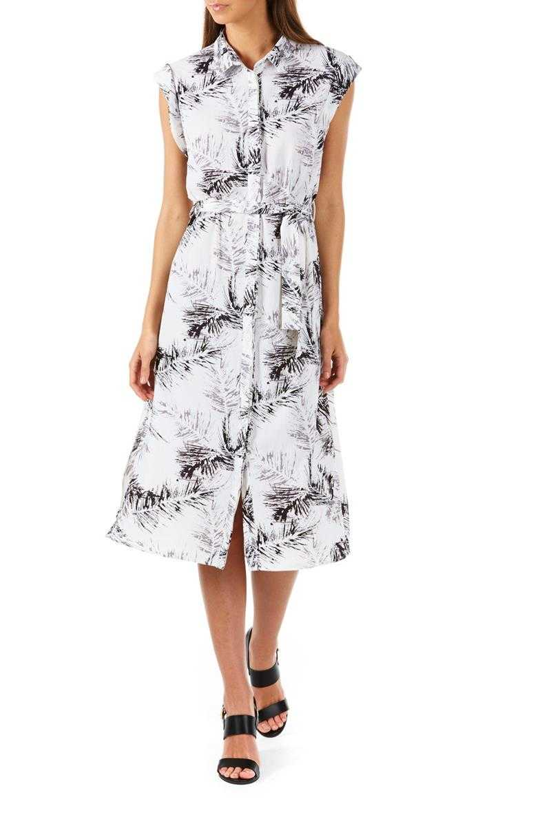 Poppy Lux Houston Plam Leaf Print Shirt Dress