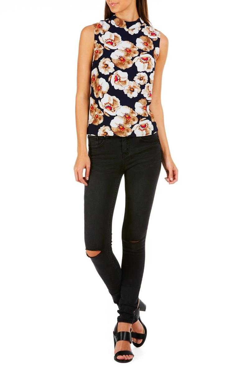 Poppy Lux Denver Pansy High Neck Shell Top