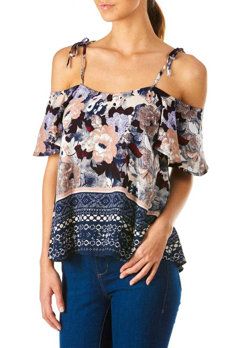 Poppy Lux Virginia Flower Border Gypsy Top