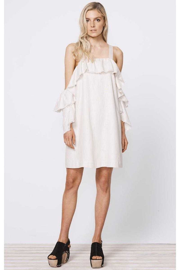 Stevie May Thyme Cold Shoulder Linen Mini Dress