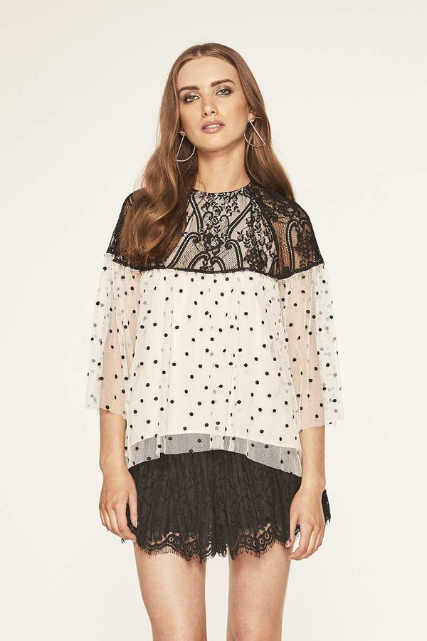 TALULAH Interlaced Polka Dot Top