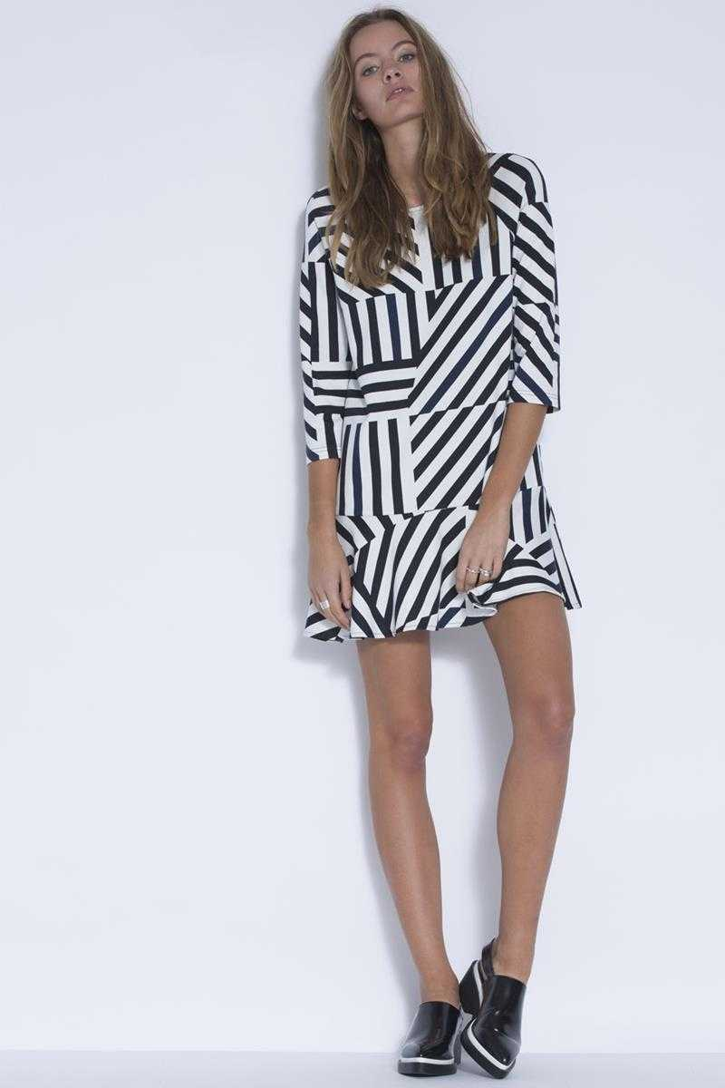 Three of Something Stripe Print Long Distance Dress
