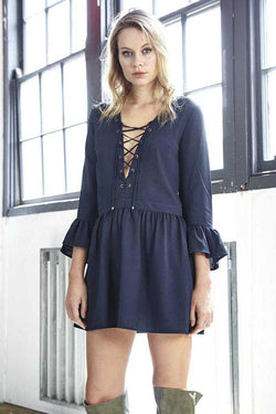 Three of Something Alpine Dress Navy