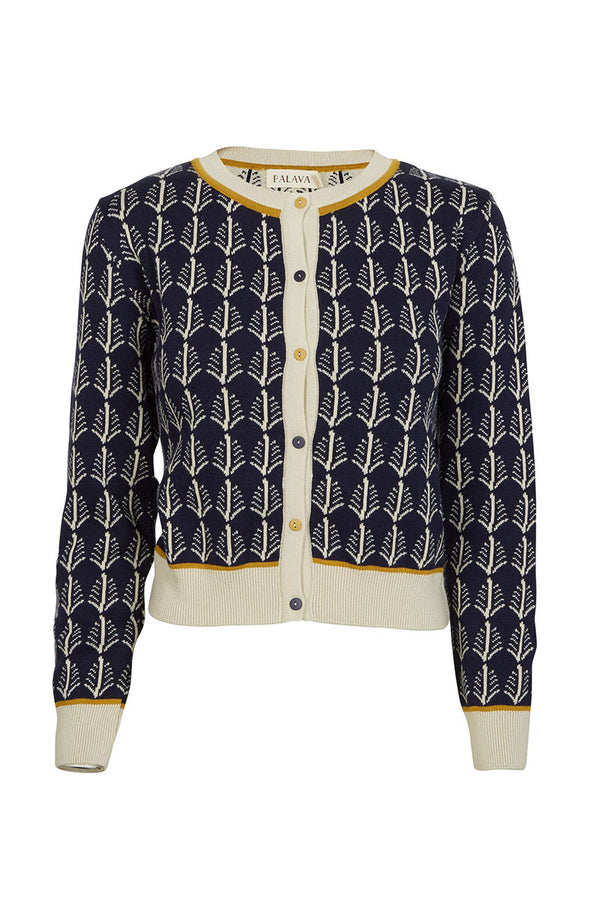 Palava Organic Cotton Cardigan Navy Cream Feathers